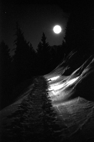 walking in the mountains at night