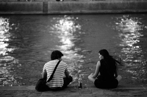 Drinking wine by the Seine in Paris
