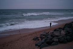 Promenade sur la plage de Bidart le soir